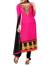 Pink Embroidered Chanderi Cotton Semi Stitched Suit - By