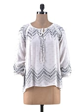 White Cotton Crepe Printed Top - By