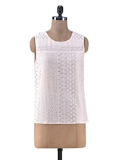 Peach Cotton Top With Cutwork - By