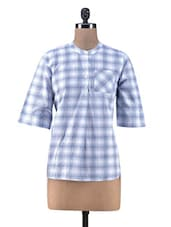 Blue Cotton Check Print Top - By