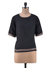 Black Viscose Embroidered Top - By