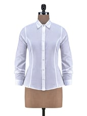 Solid White Cotton Full Sleeve Shirt - By
