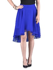 Solid Blue Poly-georgette High Low Skirt - By