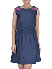 Blue Plain Poly Cotton Denim Top With Elastic - By