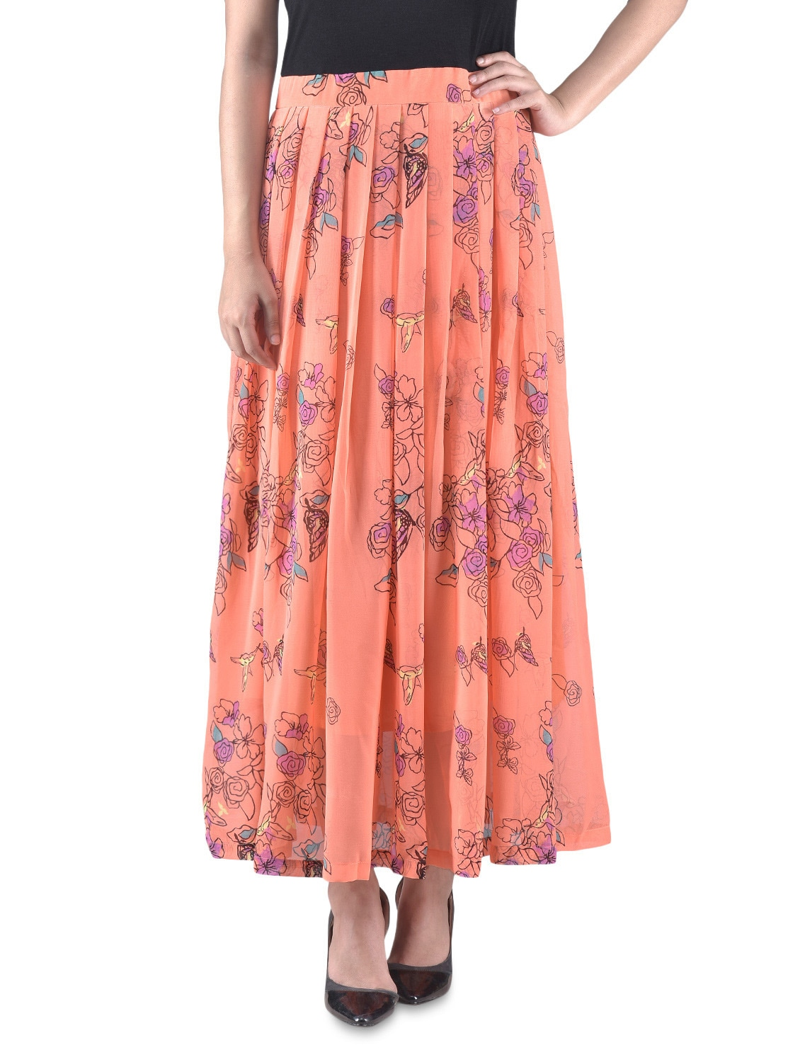 Black And Peach Printed Maxi Dress - By
