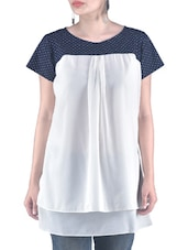 Blue Printed Plain Poly Georgette Top - By