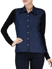 Blue Plain Poly Cotton Denim Viscose Skirts - By