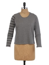 Grey Cotton Round Neck Top - By