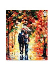 Multicolor frameless canvas couple walking on road painting -  online shopping for Paintings