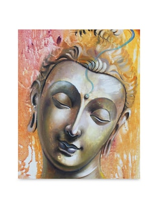 Multicolor frameless canvas serene Buddha metallic face