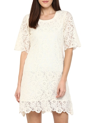 solid white lace shift dress