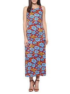 maroon floral spandex maxi dress  available at Limeroad for Rs.660