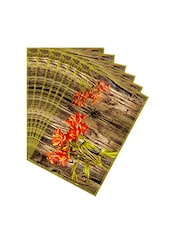 Leaf Designs Natural & Orange Table Mat - Set Of 6 - By