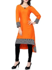 orange rayon highlow kurta -  online shopping for kurtas