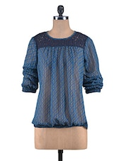 Blue Printed Georgette Laced Top - By