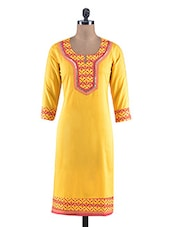 Yellow Printed Cotton Laced Kurta - By