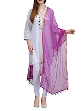 Purple Chiffon Chanderi Dupatta - By