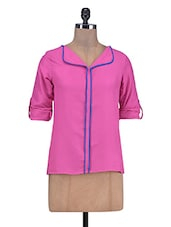 Pink Poly Satin Top With Roll-up Sleeves - By