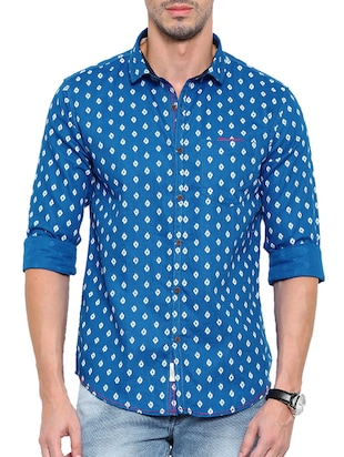 blue printed cotton casual shirt