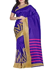 Blue Bhagalpuri Poly Silk Saree -  online shopping for Sarees