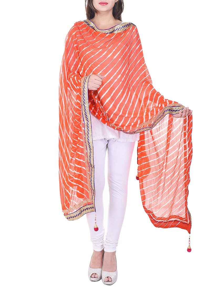 Orange Chiffon Leheriya Dupatta - By