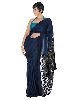 Navy blue thread embroidered silk saree -  online shopping for Sarees