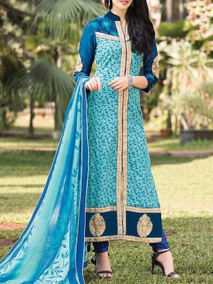 turquoise georgette salwar suits dress material -  online shopping for Dress Material
