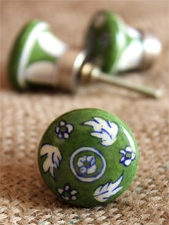 Green Ceramic Knobs (Set Of 6) - NEERJA