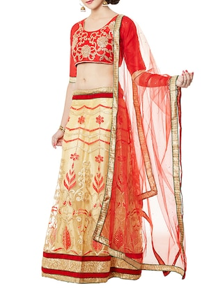 Red and beige embroidered lehenga