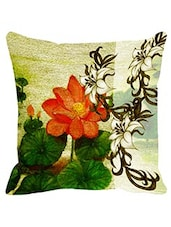 Leaf Designs Sketched Floral Orange & Green Cushion Cover - By