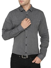solid grey cotton casual shirt -  online shopping for casual shirts