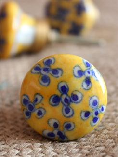 Yellow Floral Ceramic Knobs (Set Of 6) - NEERJA