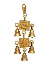 Yellow Brass Wind Chimes With Laxmi Ganesh Figure - By