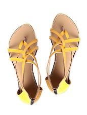 Yellow Faux Leather Strappy Flats - By