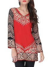 Red And Black Printed Short Kurti - By