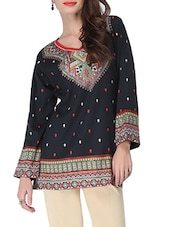 Black Printed Short Kurti - By