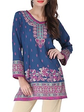 Navy Blue Printed Short Kurti - By