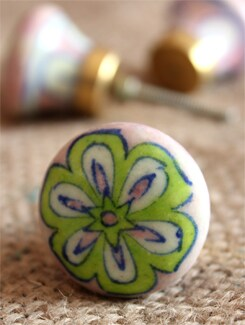 Green Flower Ceramic Knobs (Set Of 6) - NEERJA