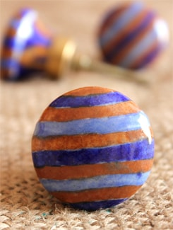 Brown And Blue Striped Knobs (Set Of 6) - NEERJA