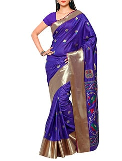 blue art silk paithani saree  available at Limeroad for Rs.4350
