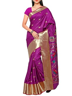 purple art silk paithani saree  available at Limeroad for Rs.4350