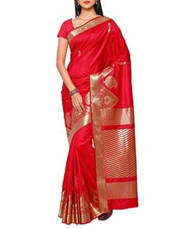 red art silk kanjivaram saree  available at Limeroad for Rs.4350