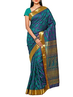 green art silk kanjivaram saree  available at Limeroad for Rs.1475