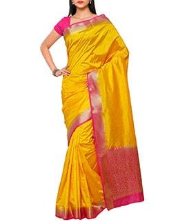 gold silk kanjivaram saree  available at Limeroad for Rs.1650