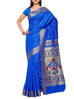 blue art silk paithani saree  available at Limeroad for Rs.3250