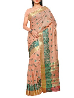orange silk chanderi saree  available at Limeroad for Rs.1350