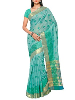 green silk chanderi saree  available at Limeroad for Rs.1350