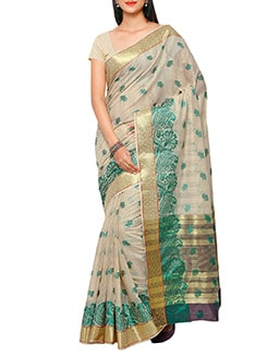 cream silk chanderi saree  available at Limeroad for Rs.1350