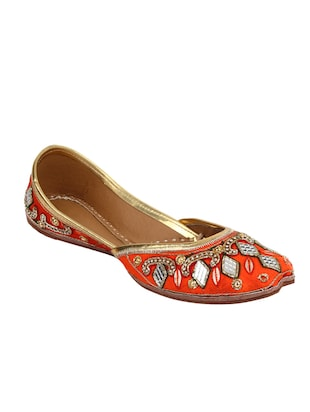 orange slip on mojari