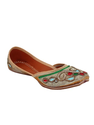 gold slip on mojari -  online shopping for Jutis & Mojaris